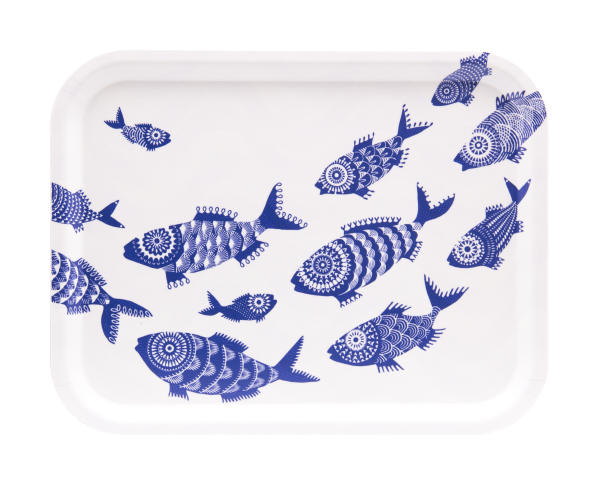 SHOAL OF FISH, WHITE - TRAY RECT.