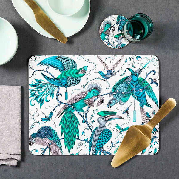 Green audubon birchwood tray by Emma J Shipley