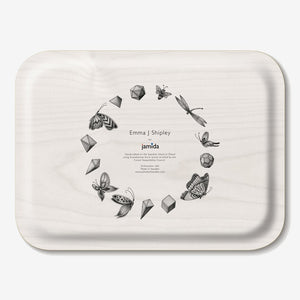 Pink birchwood tray featuring giraffes designed by Emma J Shipley