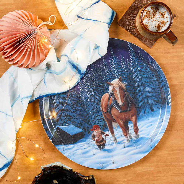 Birchwood tray with christmas pattern and a horse