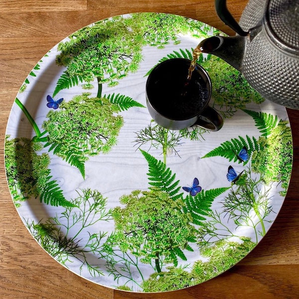 Green and white serving tray by Michael Angove