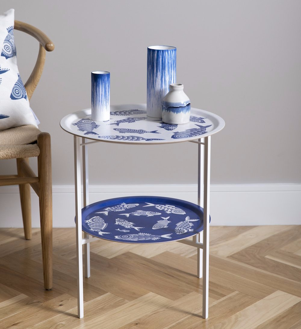 Superbe DOUBLE TRAY TABLE STAND (WHITE)