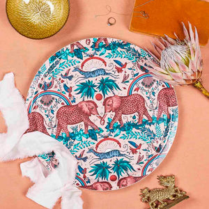 Pink Zambezi birchwood tray featuring elephants designed by Emma J Shipley