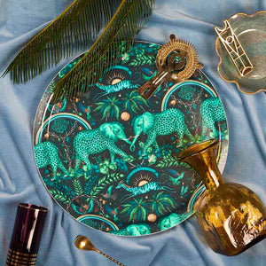 Teal Zambezi birchwood tray featuring elephants designed by Emma J Shipley