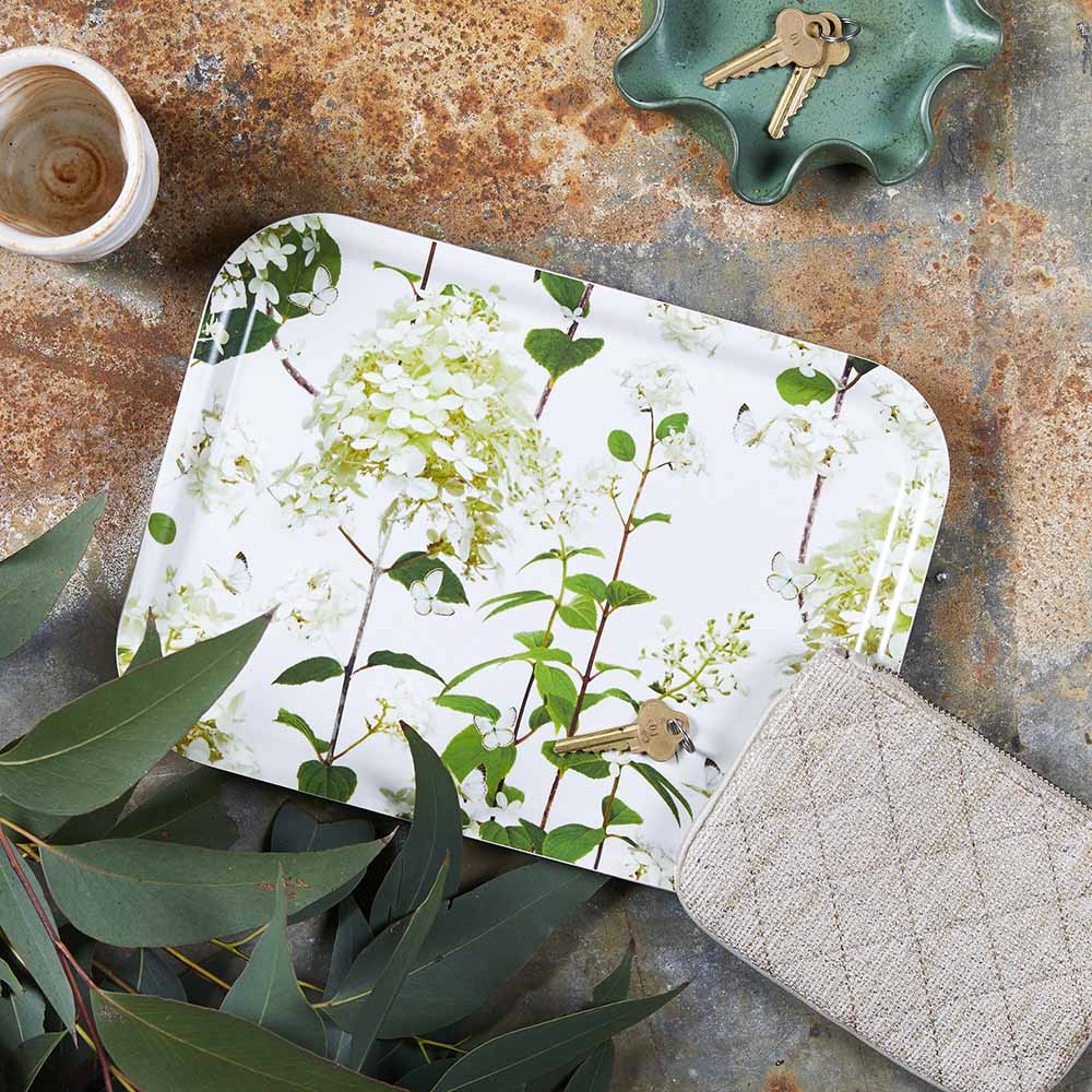 Birchwood tray with hydrangea artwork by Michael Angove