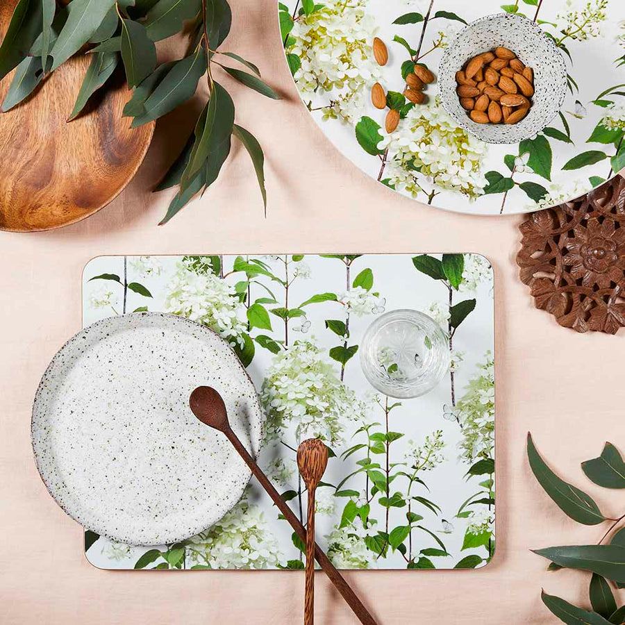 PLACEMAT, HYDRANGEA (WHITE), RECT.