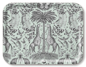 Green birchwood tray featuring giraffes designed by Emma J Shipley