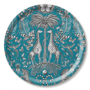Turquoise birchwood tray featuring giraffes designed by Emma J Shipley