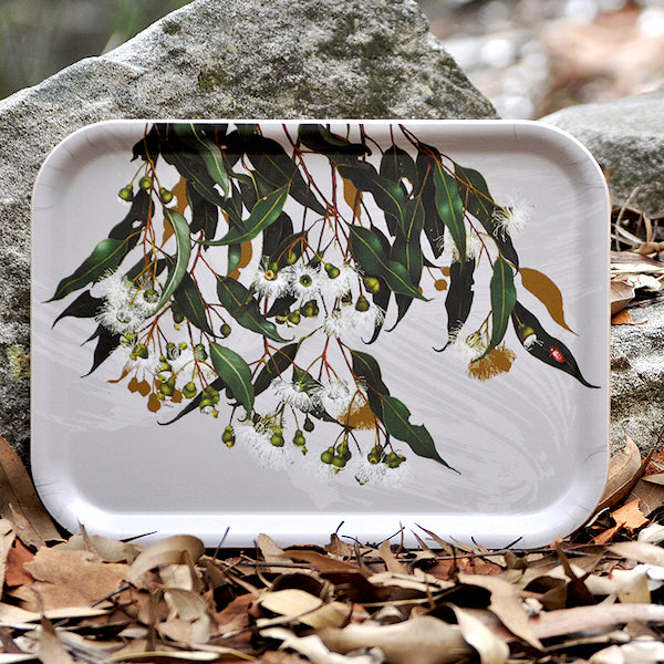 Birchwood tray with Australian Marri Gum common beauty pattern by Bell Art