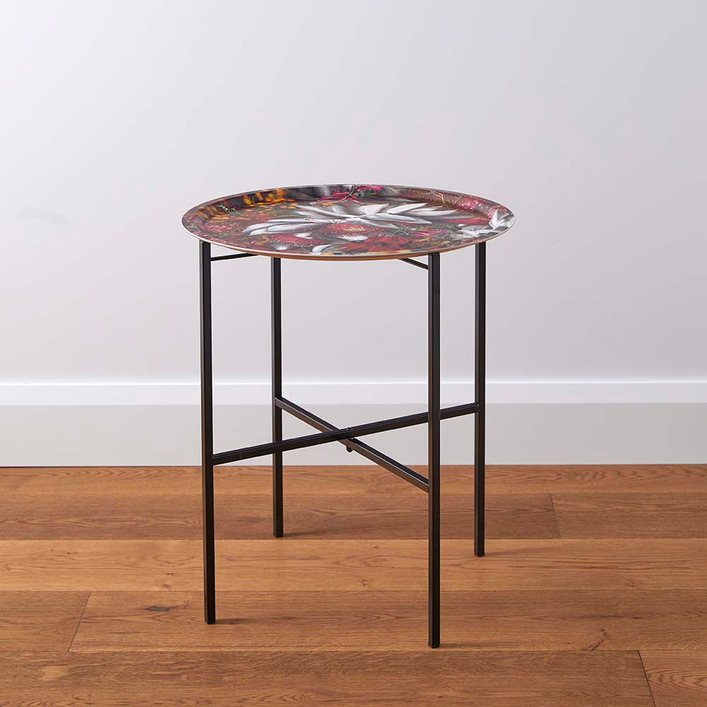 Red folding side table