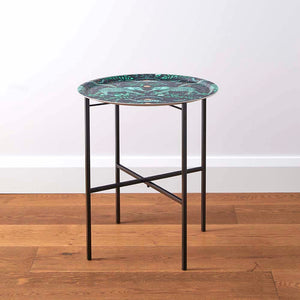 Teal Zambezi birchwood tray stand featuring elephants designed by Emma J Shipley