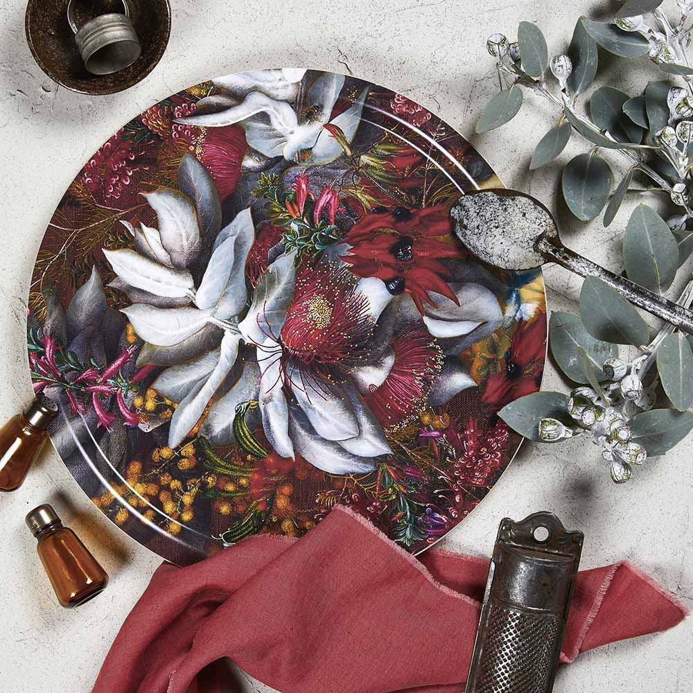 Serving tray with Australiana flower pattern by Bell Art