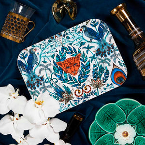 Blue jungle-inspired Amazon birchwood tray by Emma J Shipley