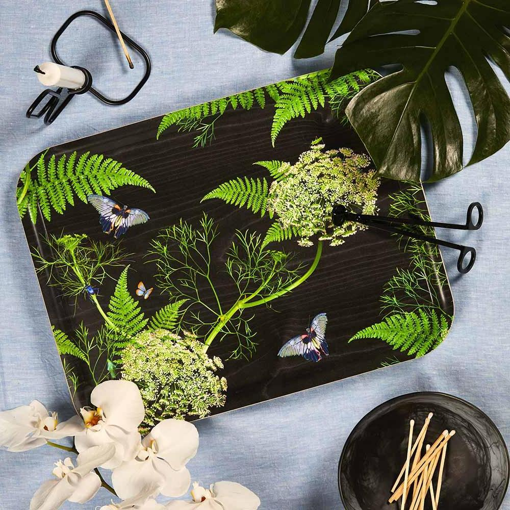 Black and green birchwood tray by Michael Angove