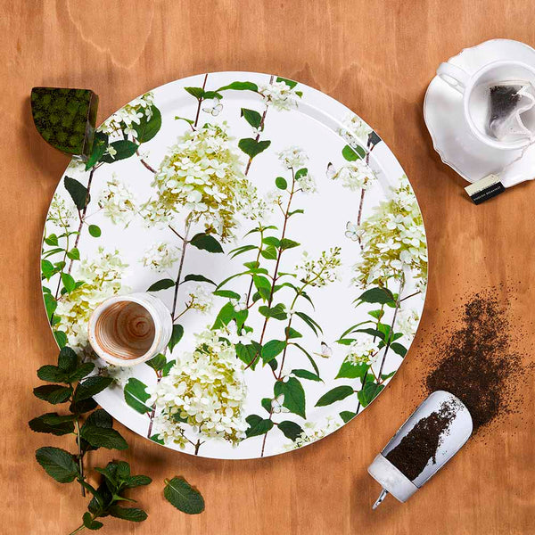 Birchwood tray with hydrangea tray by Michael Angove