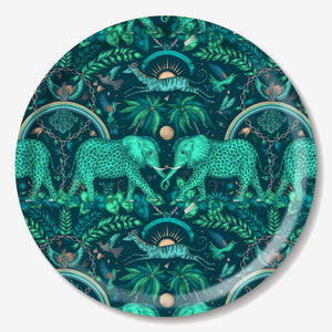 DAMAGED ZAMBEZI, TEAL - TRAY ROUND