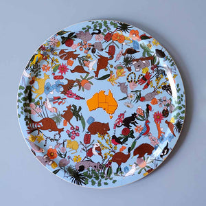 Australian souvenir with kangaroo and cockatoo pattern by Megan McKean