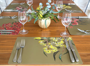 Placemat with eucalyptus artwork by Bell Art made in Australia