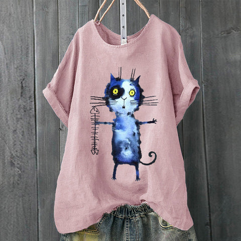 Women Plus Size Cat Short Sleeve T-Shirt