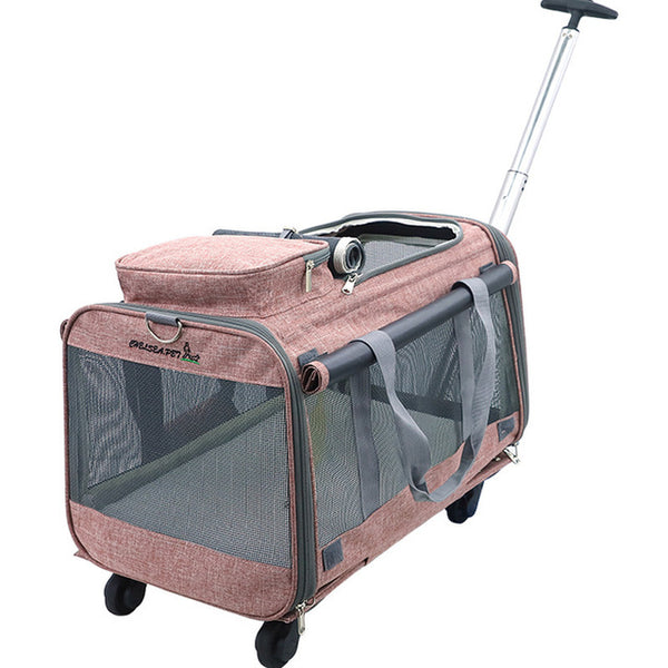 Foldable Collapsible Cat Carrier with Wheels