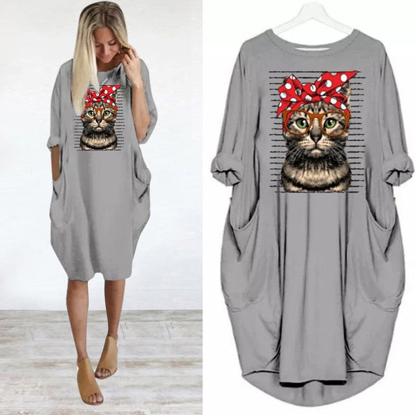 Women's Oversized Casual Cat Pullover