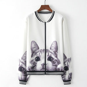 Cat Print Casual Sports Jacket