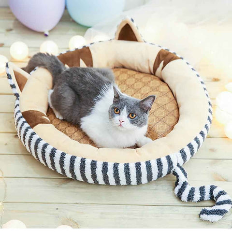 Cat Shaped Round Cat Bed