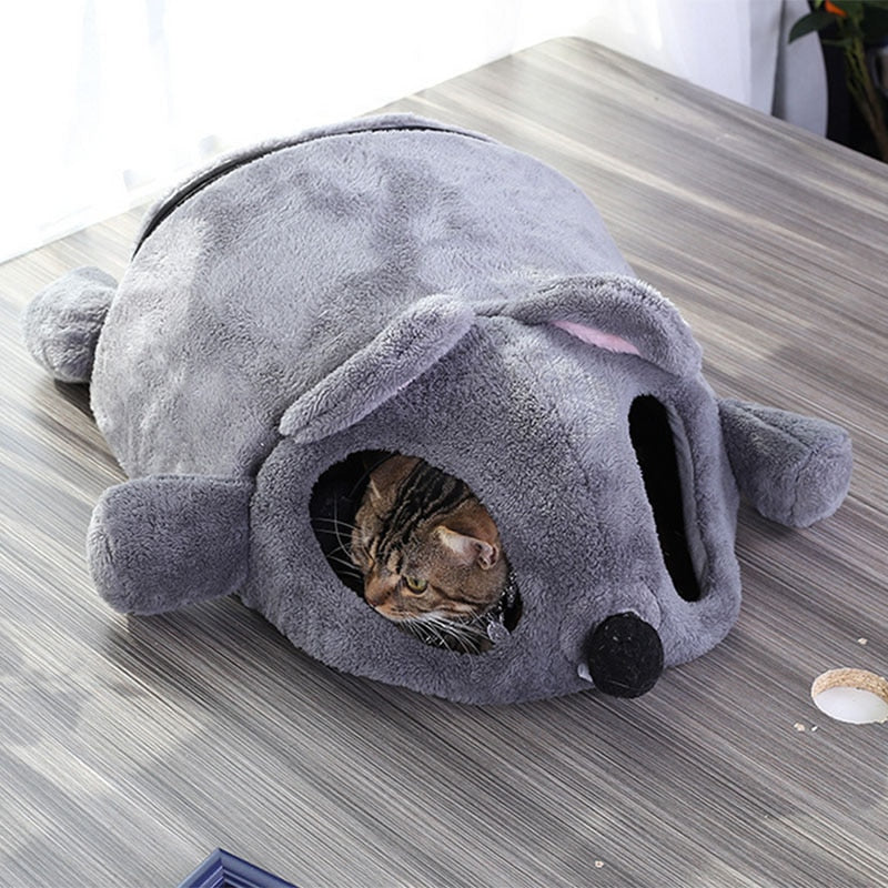 Warm Soft Gray Mouse Cat Bed