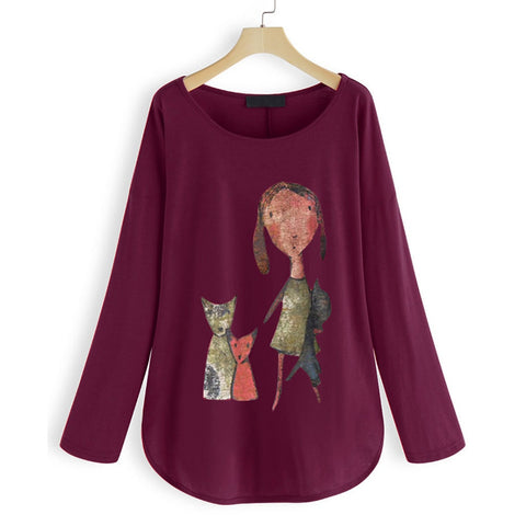 Cartoon Cat T-shirt Plus Size Women