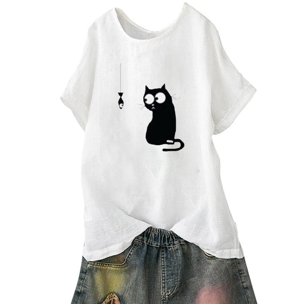 Women Loose Cat Print Vintage t-Shirt