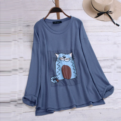 Autumn And Winter Women Cat Print T Shirt