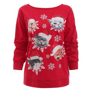 Long Sleeve Cat Snowflake T-shirt