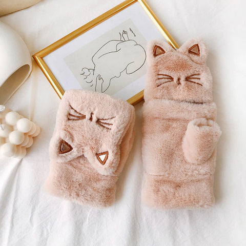 Cat Pattern Winter Mittens