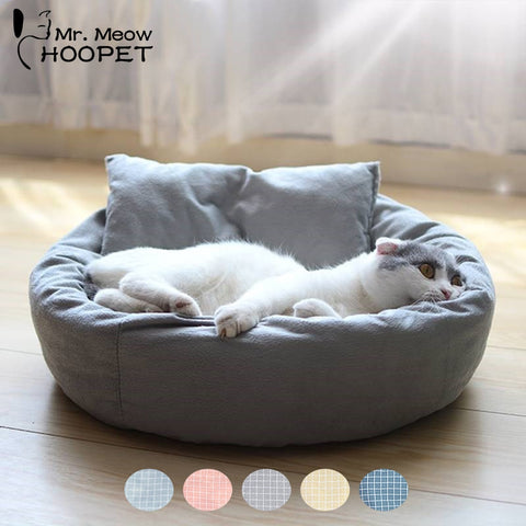 Hoopet Pet Cat Lounger Sofa Egg Tart Shaped House PP Cotton Cat Bed Soft Plush Cat Mats Big Basket Dog Mattress Pet Supplies