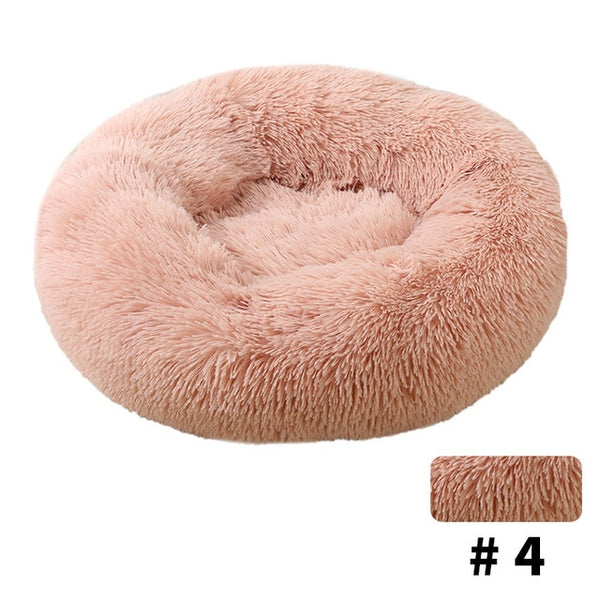 HOOPET Round Plush Cat Bed House Soft Long Plush Cat Bed Round Pet Dog Bed For Small Dogs Cats Nest Winter Warm Sleeping Bed