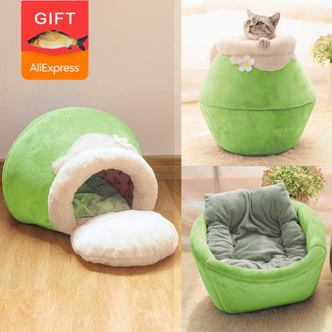Winter Warm Cat Bed Plush Soft Portable Foldable Cute Cat House Cave Sleeping Bag Cushion Thickened Pet Bed Kittens Products