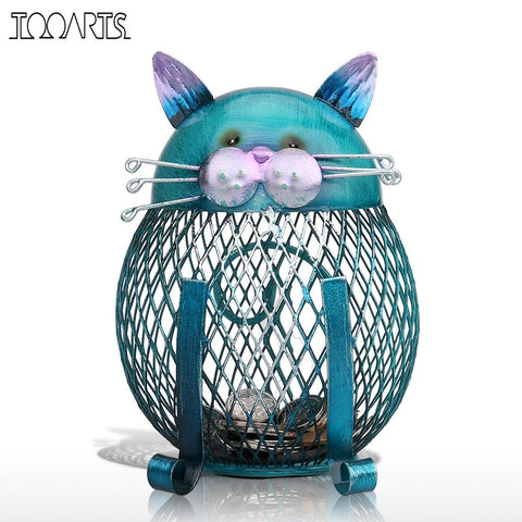 Blue Cat Metal Piggy Bank