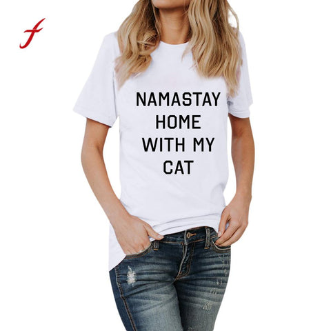 Women NAMASTAY HOME WITH MY CAT T- Shirt