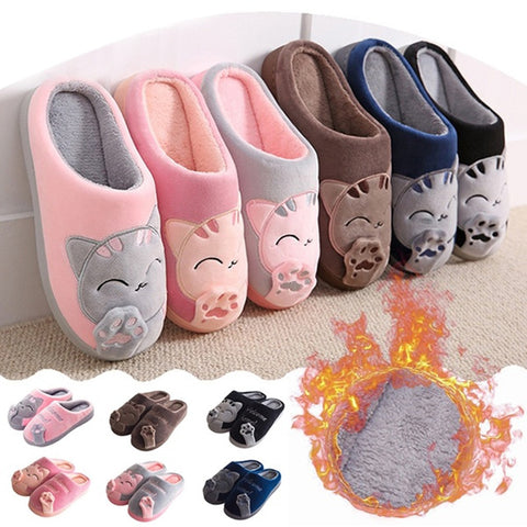 Non-Slip Women Winter Cat Slippers