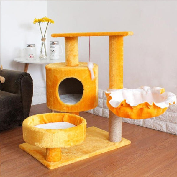 Solid Wood Cat Tree House with Hanging Ball