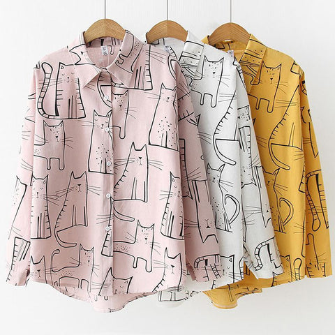 Cat Print Casual Ladies Blouse