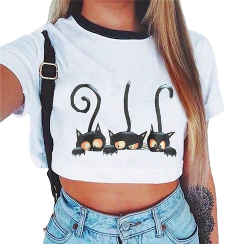 Women Cute Cat Print Short T-shirt