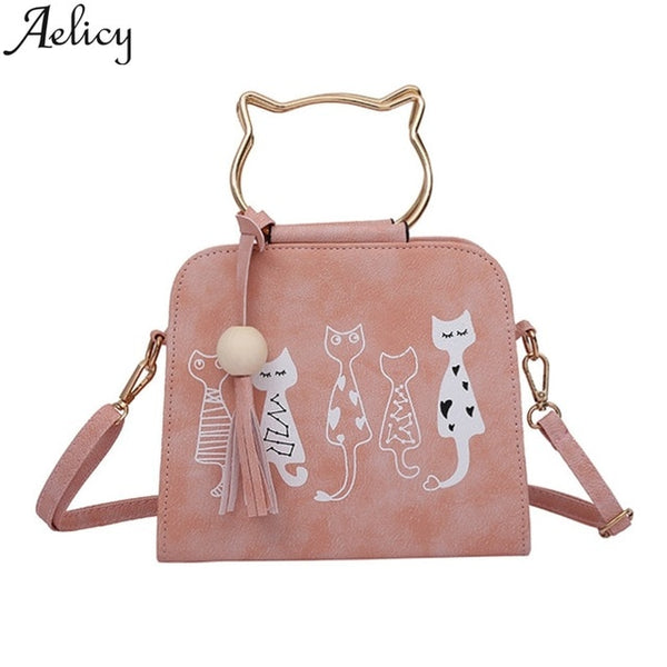 2019 Leather Women Cat Shoulder Bag
