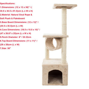 Luxury Cat Tower 36-80 Inches