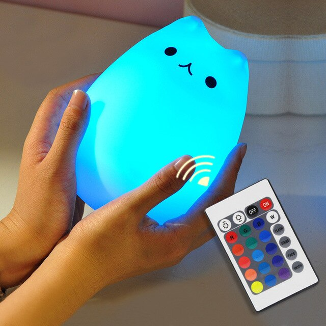 Rechargeable Remote Control Cat LED Night Light