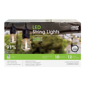 ST19 20' 10 Vintage Bulb LED String Light with Bulbs - FEIT