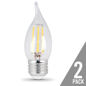 CA10 Clear Flame Tip LED Bulb - 2700K - E26 Medium Base - 6W - FEIT