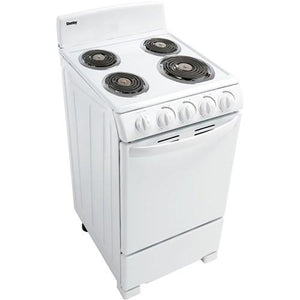 "20"" Electric Range, Coil Elements, Push & Turn Safety Knobs - White - Danby"
