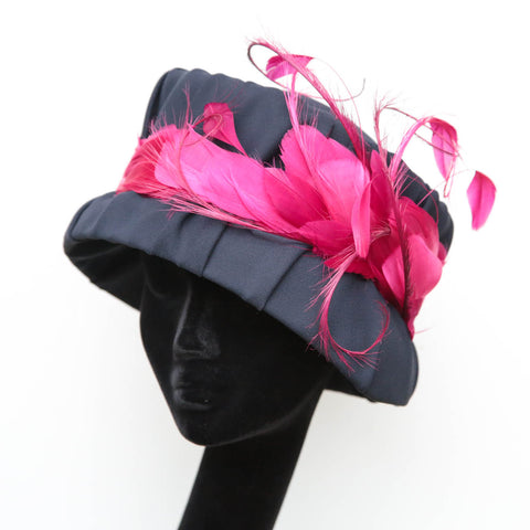 Fuchsia Navy Bucket Cloche ~ SOLD