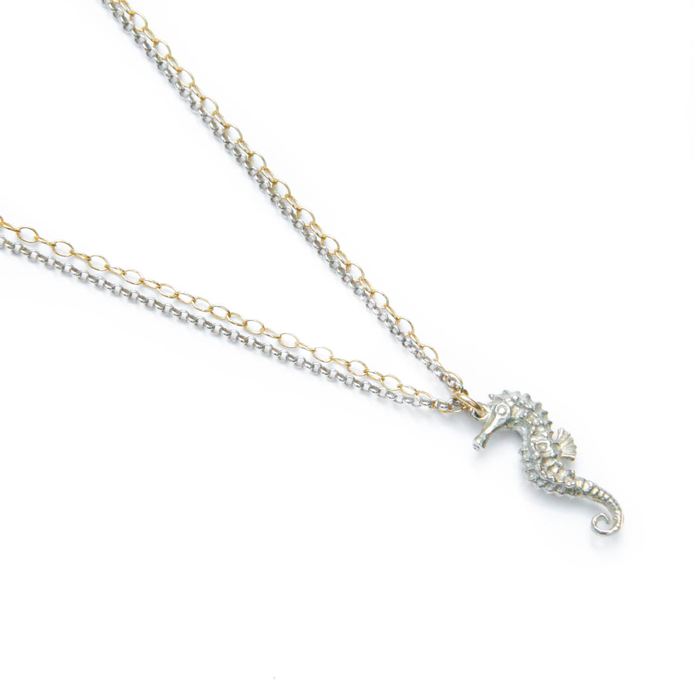 Large silver seahorse necklace